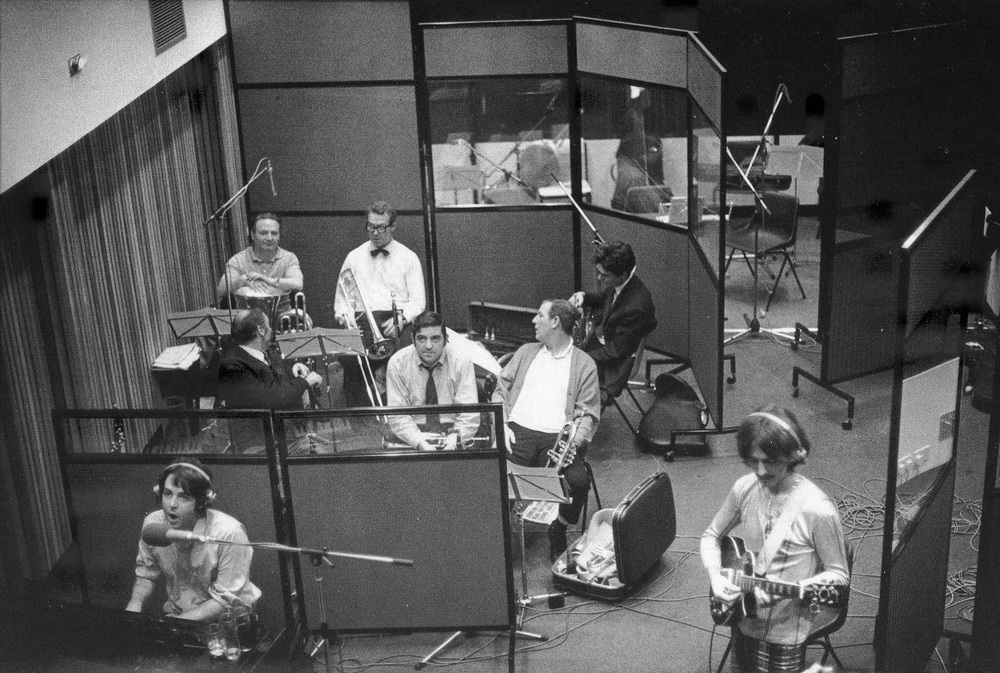 Paul McCartney and George Harrison recording Honey Pie with session musicians, 1968.