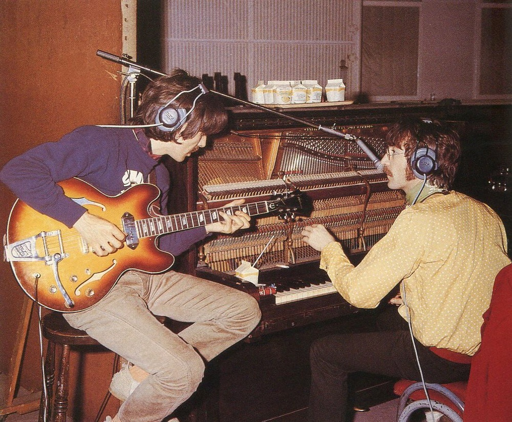 George Harrison and John Lennon working on Sgt. Pepper, 1967.