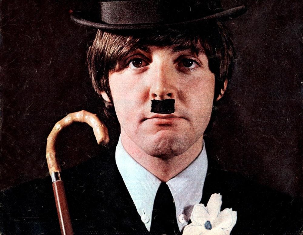 Paul McCartney dressed as Charlie Chaplin, 1965.