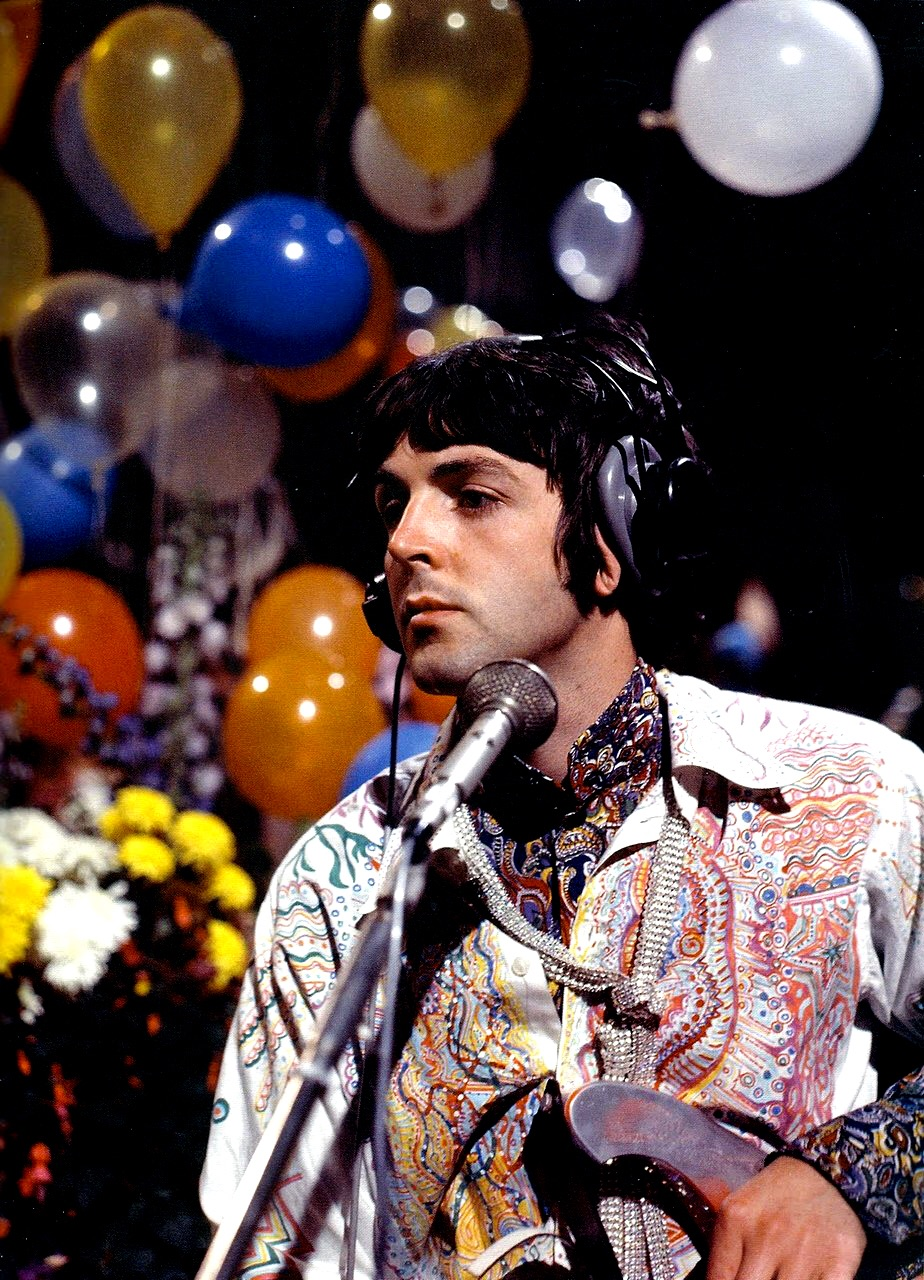 Paul McCartney recording All You Need Is Love, 1967.