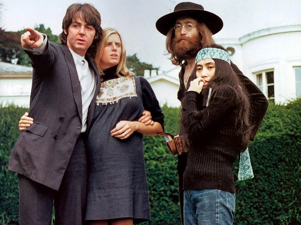Paul McCartney, Linda McCartney, John Lennon and Yoko Ono at the Beatles' final photo shoot, August 22nd, 1969.