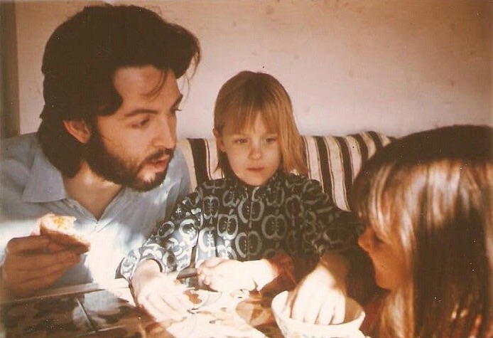 Paul McCartney with stepdaughter Heather, circa 1970.