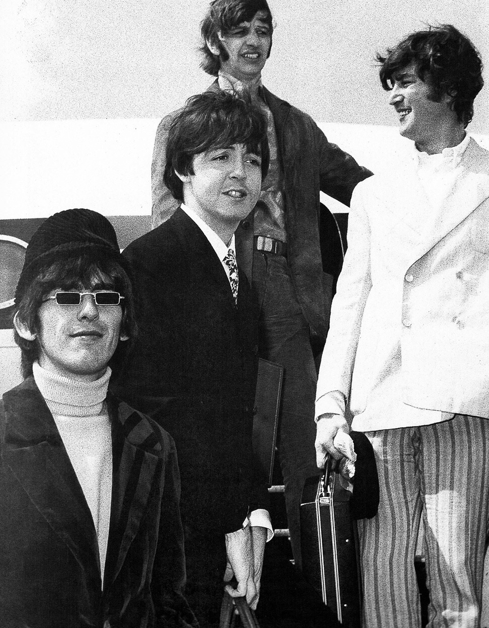 The Beatles on tour in the US, 1966.