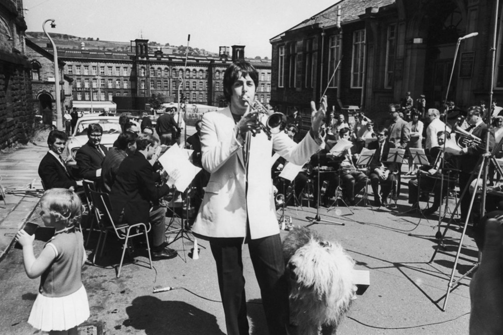 Paul McCartney conducting with his sheepdog Martha, 1968.