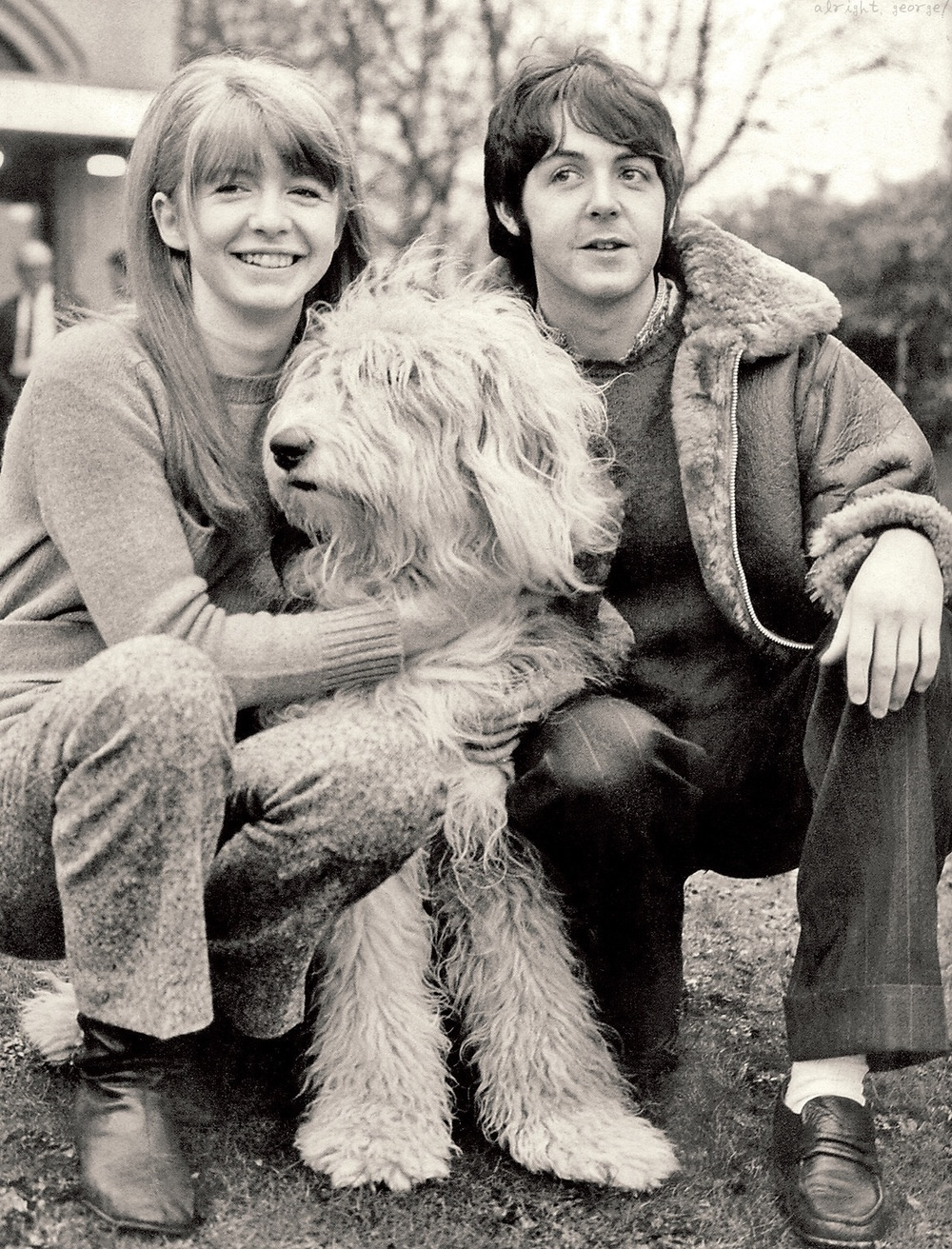 Jane Asher and Paul McCartney with Martha, circa 1966.