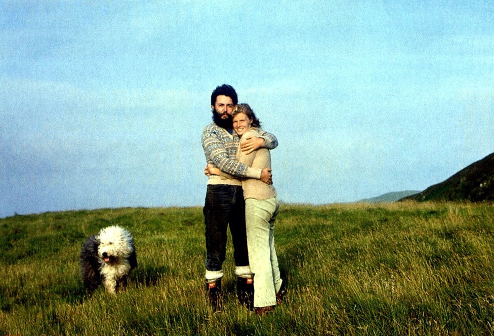 Paul and Linda McCartney with Marth, circa 1971.