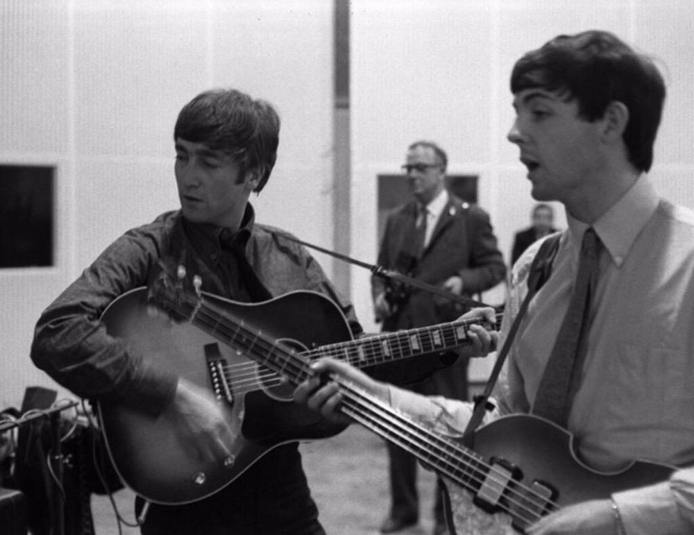 John Lennon and Paul McCartney recording She Loves You, July 1st, 1963.