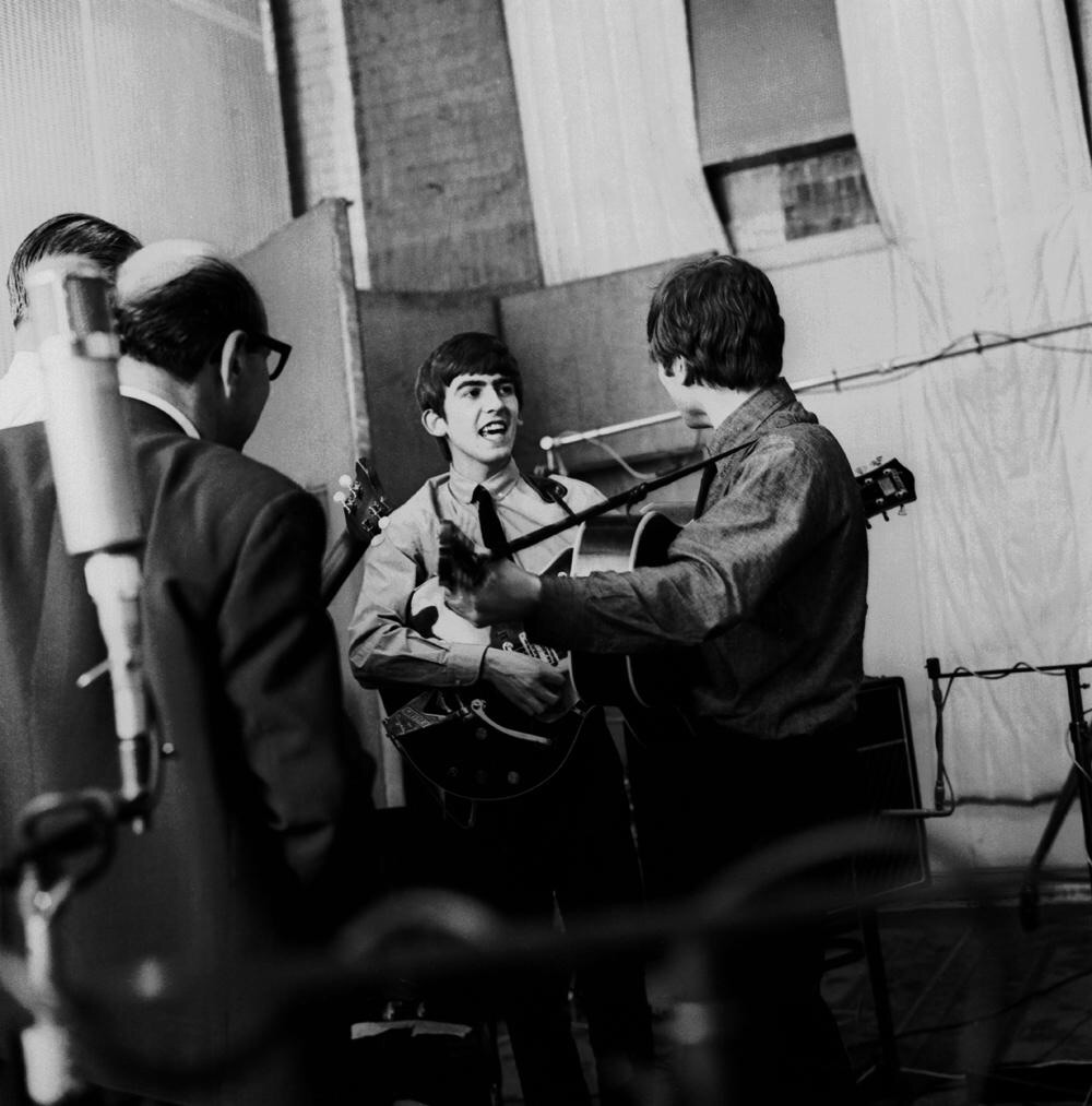 George Harrison and John Lennon recording She Loves You, July 1st, 1963.