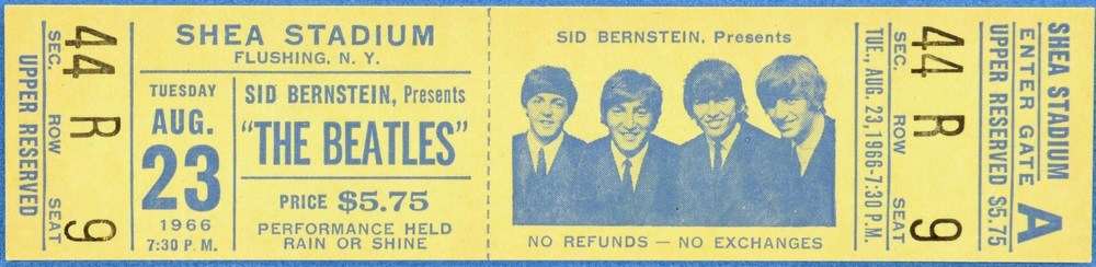 Ticket for the Beatles' concert at Shea Stadium, August 23rd, 1966.