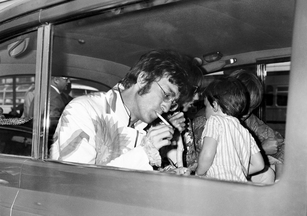 John Lennon and Cynthia with son Julian, 1967.