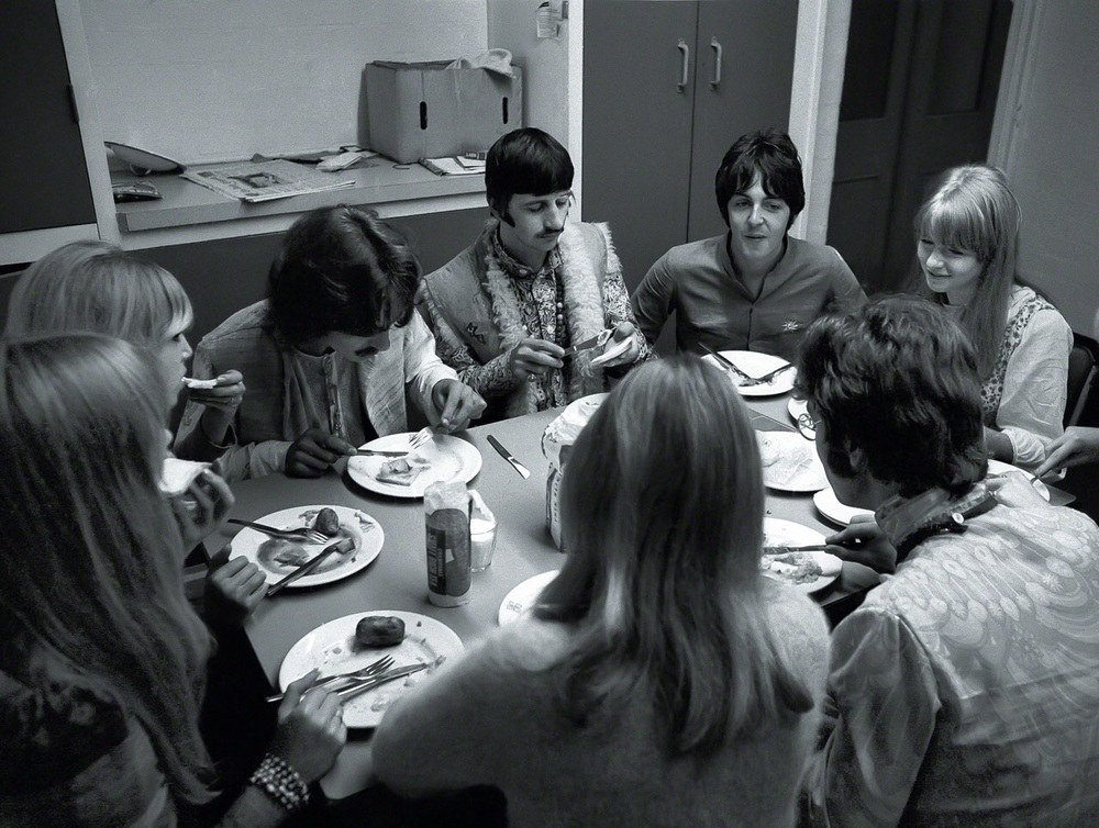 Pattie and Jenny Boyd, George Harrison, Ringo Starr, Paul McCartney, Jane Asher, John and Cynthia Lennon in Bangor, Wales, August 1967.