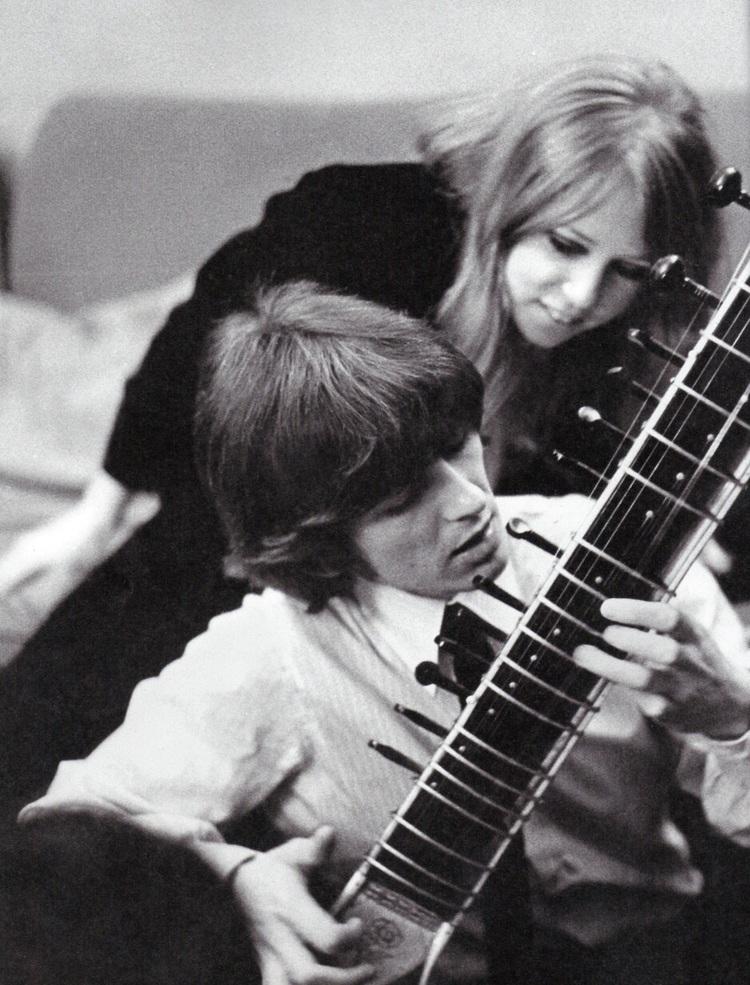 George Harrison Practising Sitar With Pattie Boyd 1966