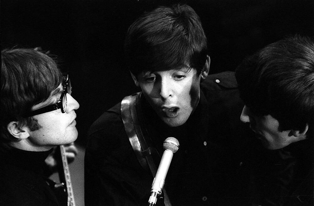 John Lennon, George Harrison and Paul McCartney recording at the BBC, 1963.