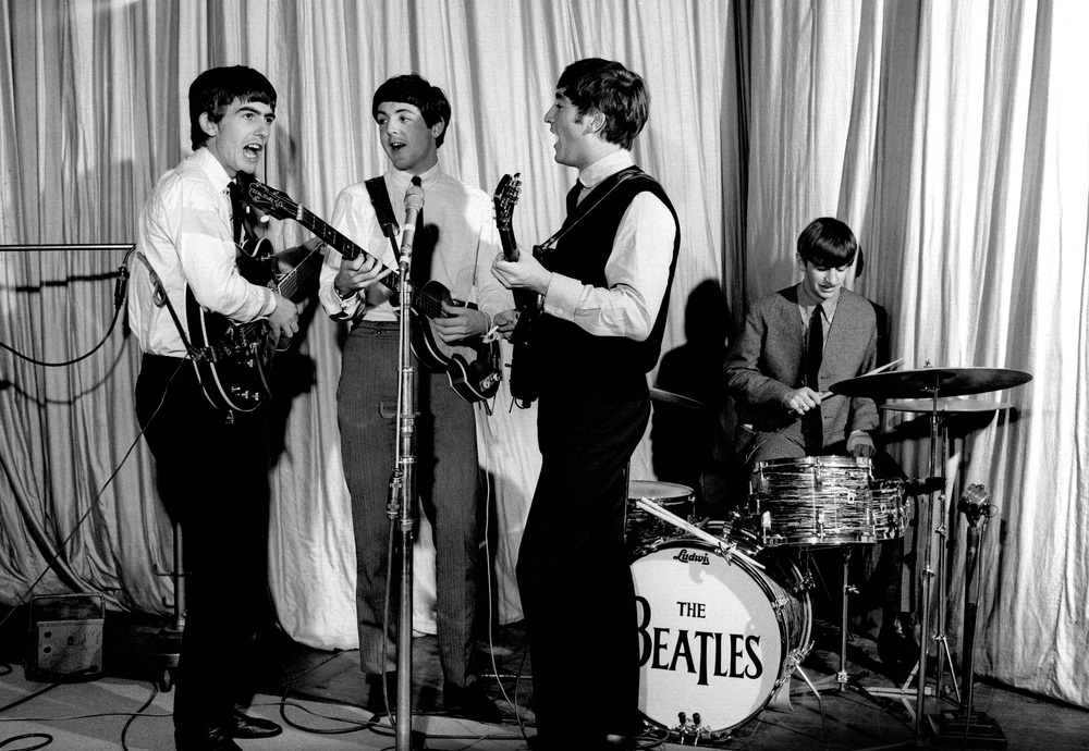 The Beatles recording at the BBC, 1963