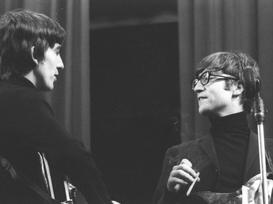 John Lennon and George Harrison recording at the BBC, 1963.