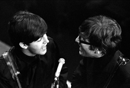 John Lennon and Paul McCartney recording at the BBC, 1963.