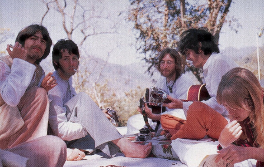 George Harrison, Paul McCartney, John Lennon, Donovan Leitch and Jenny Boyd in India, 1968.