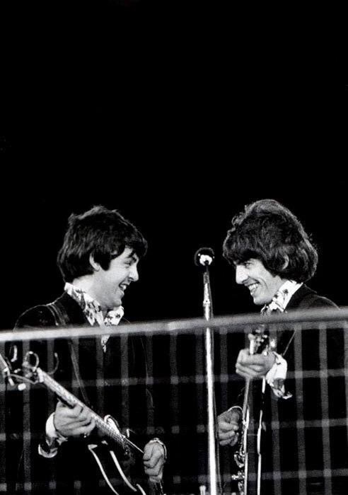 Paul McCartney and George Harrison at  Candlestick Park, San Francisco, August 29th, 1966.