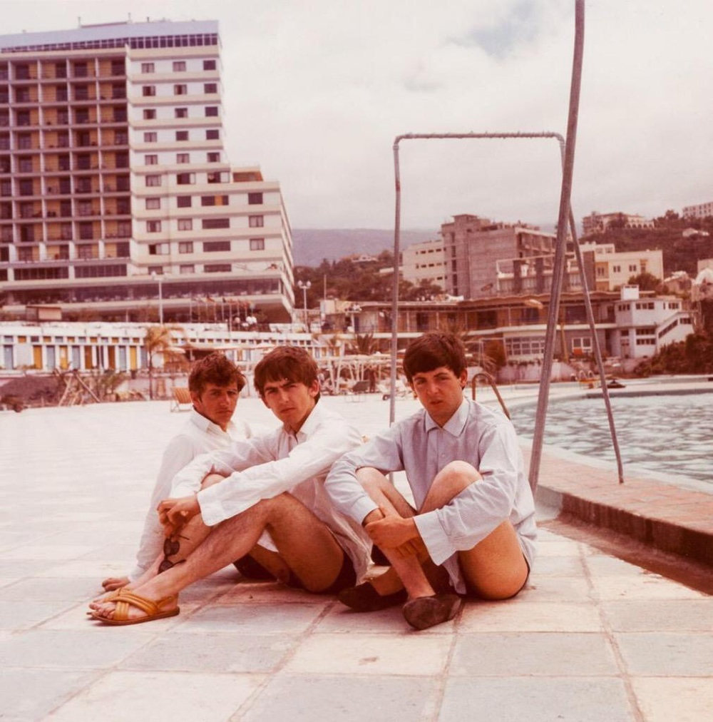 George Harrison, Paul McCartney and Ringo Starr in Tenerife, April 1963.