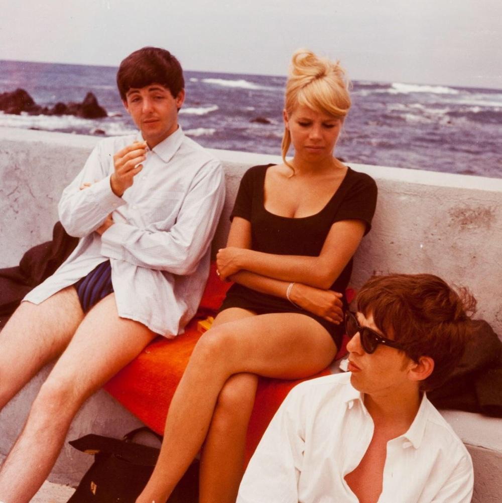 George Harrison, Paul McCartney and Astrid Kirchherr in Tenerife, April 1963.