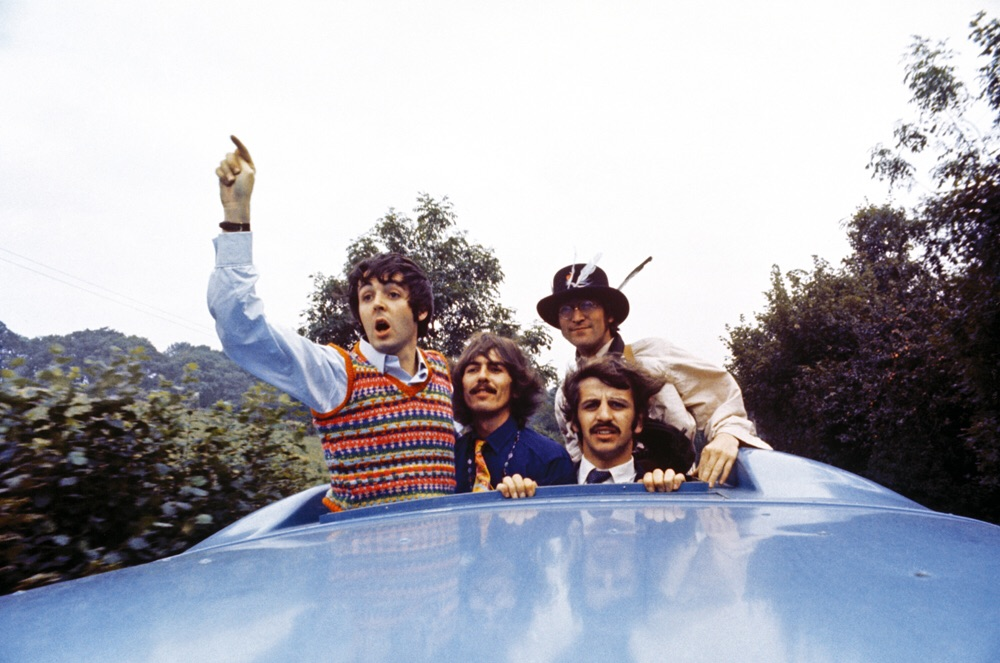 The Beatles aboard the Magical Mystery Tour bus, 1967.