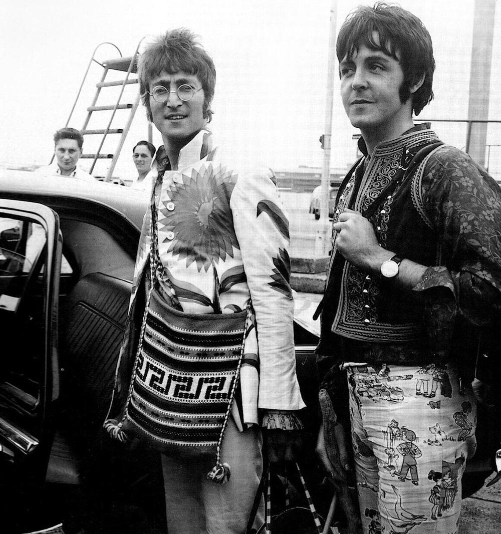 John Lennon and Paul McCartney heading to Greece, 1967.
