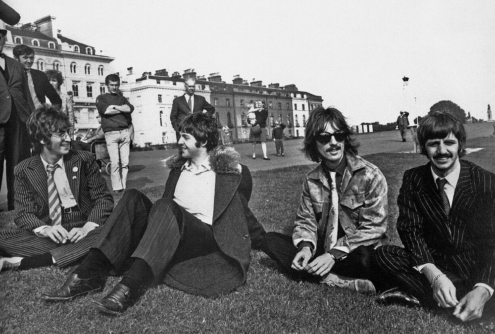 The Beatles during the filming of Magical Mystery Tour, 1967.