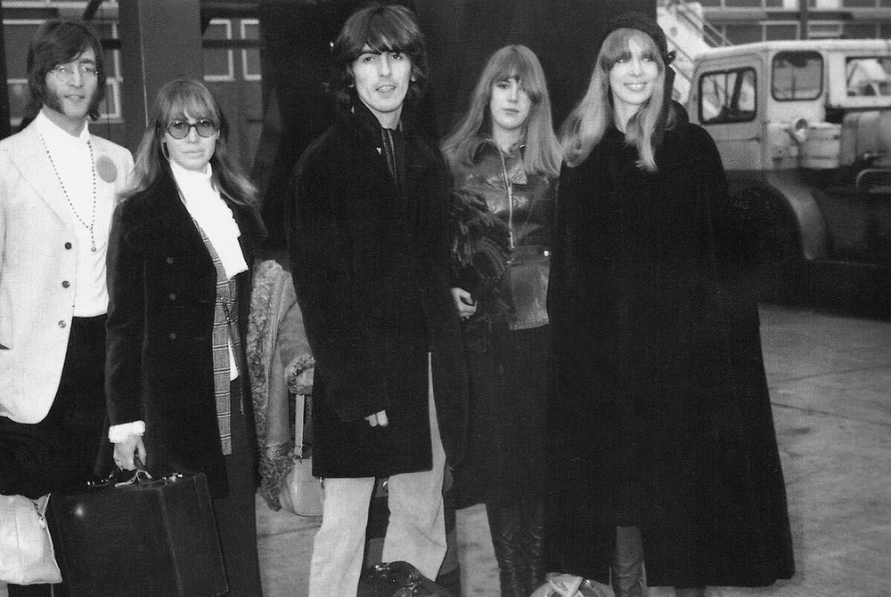 John and Cynthia Lennon with George Harrison, Pattie and Jenny Boyd, 1968.