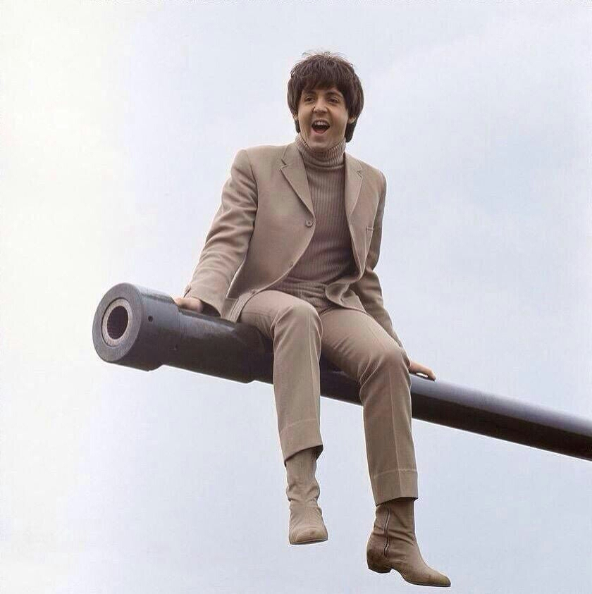 Paul McCartney filming Help! on the Salisbury Plain, 1965.