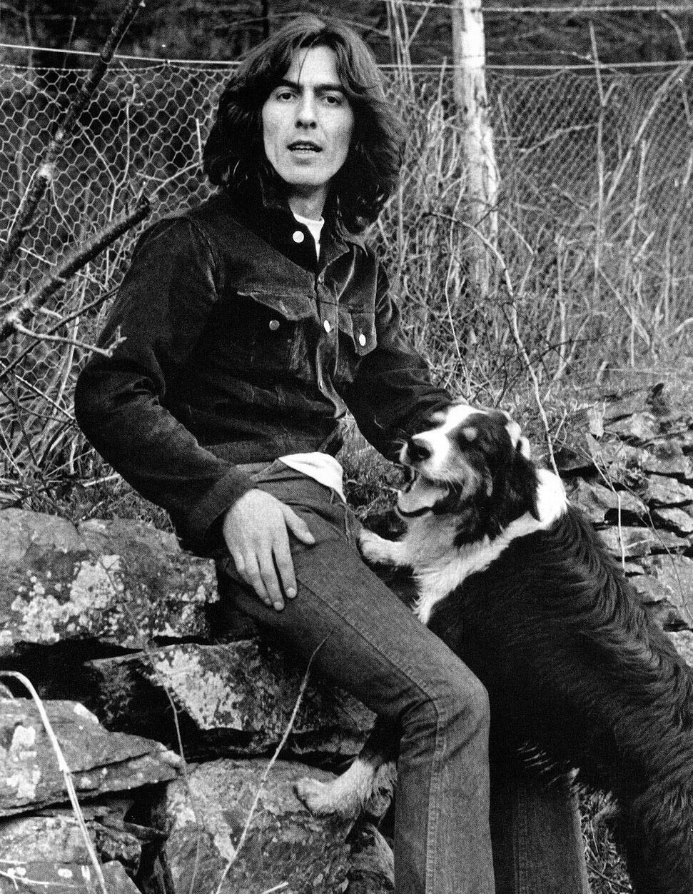 George Harrison with his dog, 1969.
