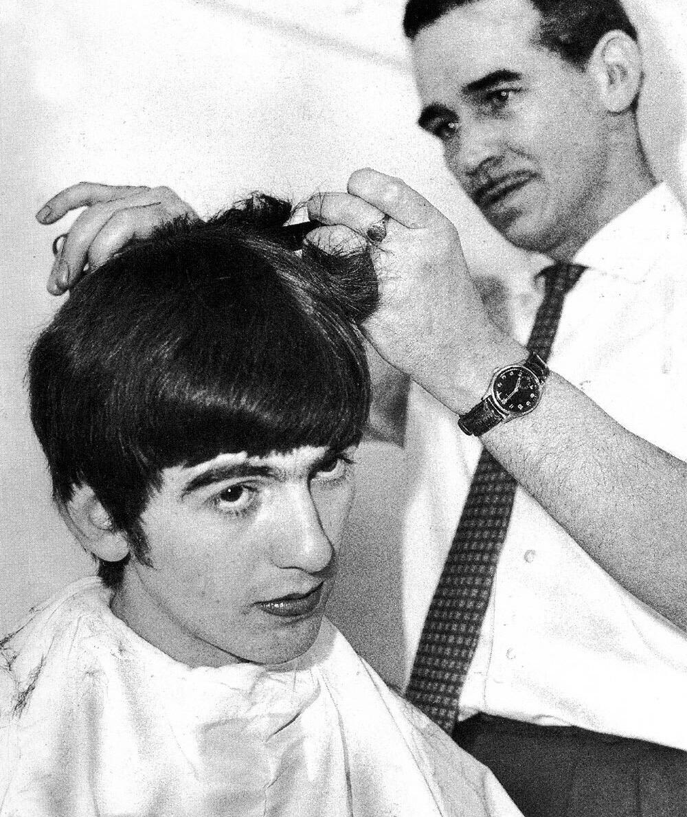 George Harrison getting a haircut, 1963.