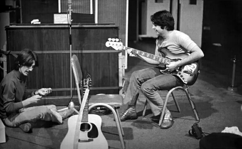 George Harrison and Paul McCartney recording the White Album, 1968.