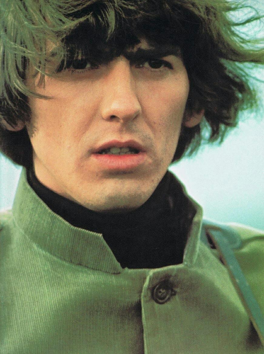 George Harrison filming Help! on the Salisbury Plain, 1965.