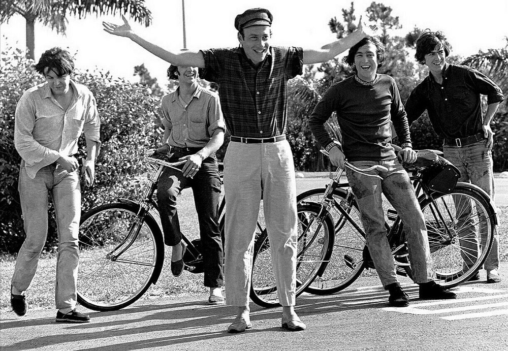 The Beatles and Dick Lester filming Help! in the Bahamas, 1965.