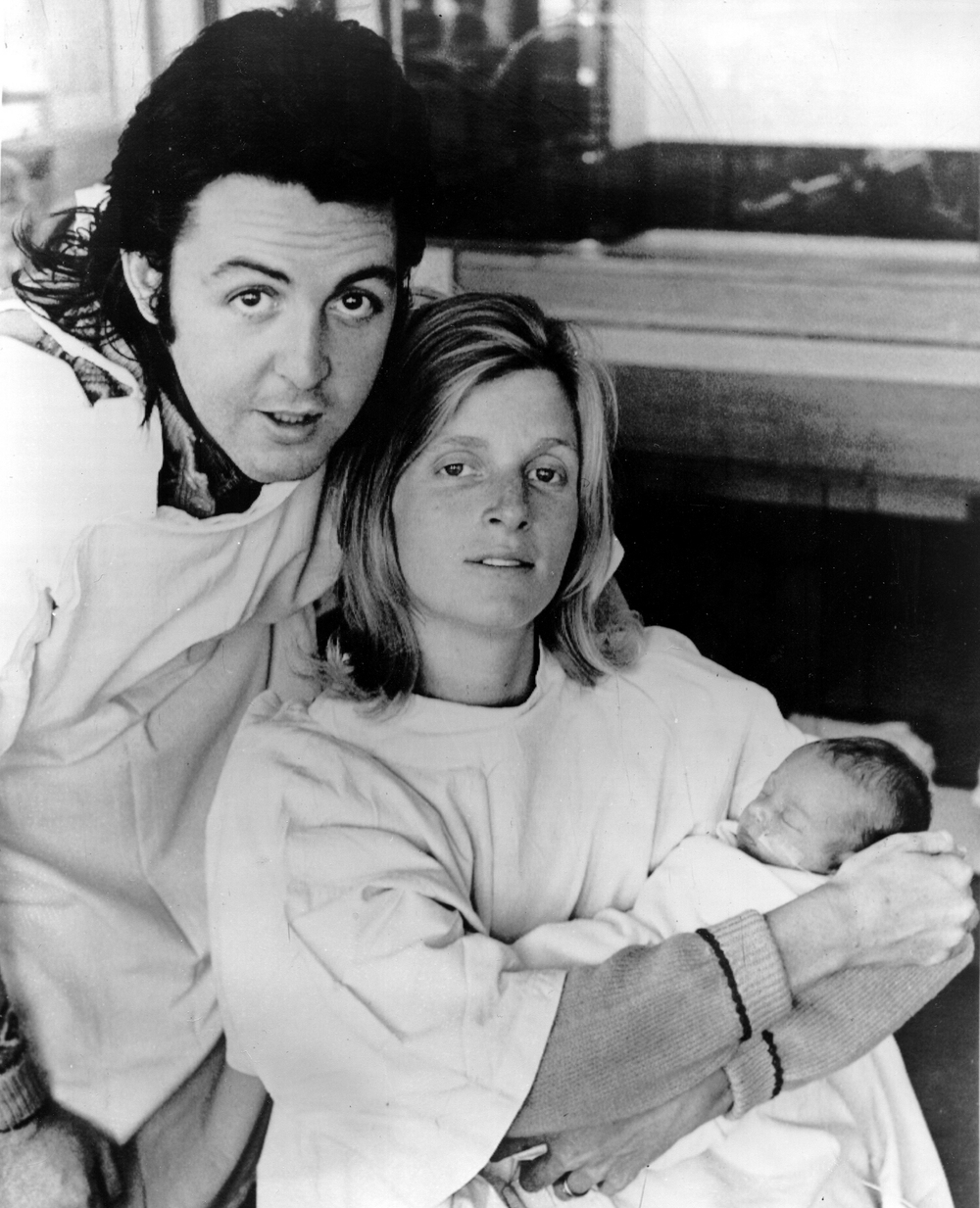 Paul and Linda McCartney with newly born Stella, September 1971.