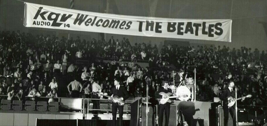 The Beatles on stage at the Civic Arene, Pittsburgh, September 14th 1964.