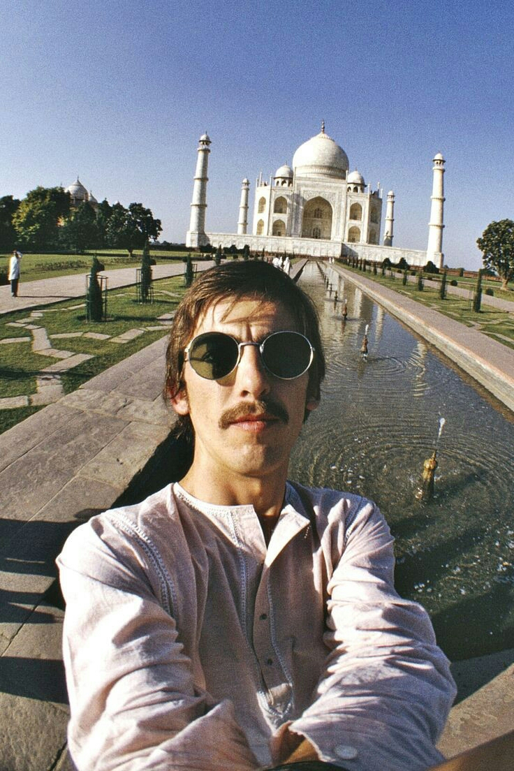 George Harrison's iconic selfie at the Taj Mahal, India, 1966.