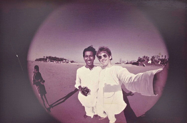 George Harrison selfie with a friend in India, 1966.