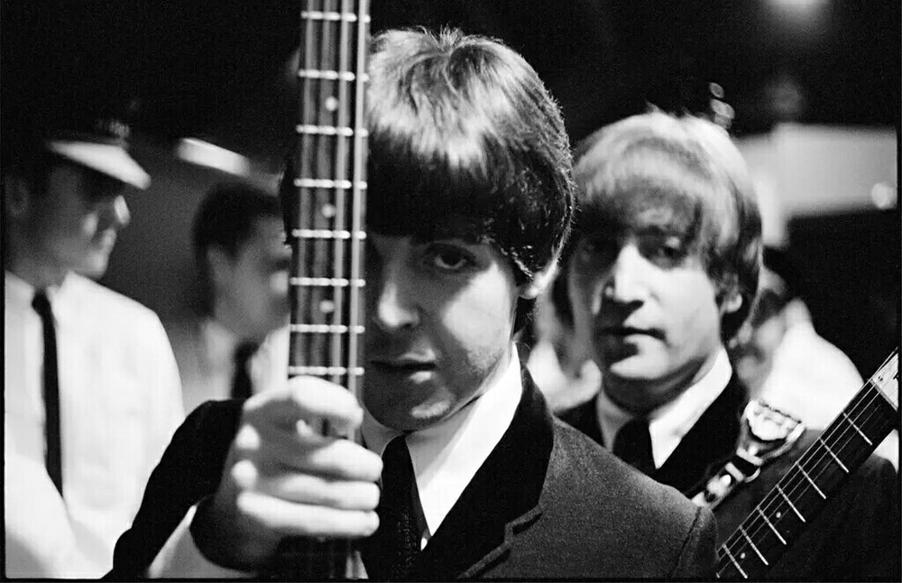 Paul McCartney and John Lennon in America, 1964.