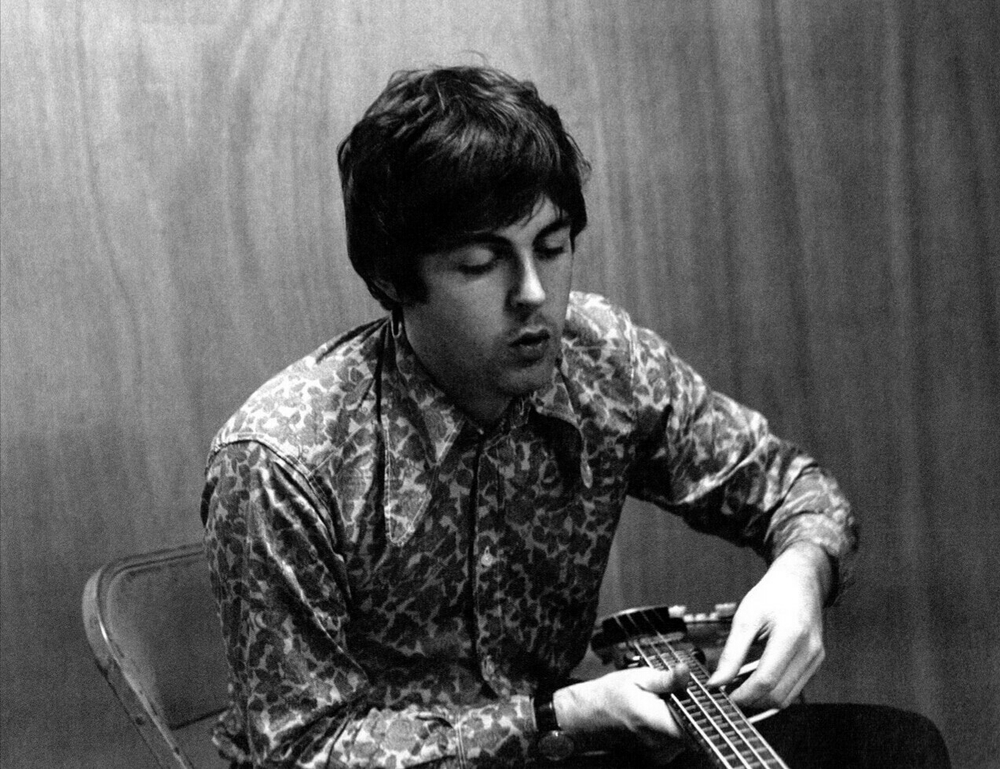 Paul McCartney with his Hofner bass, 1966.