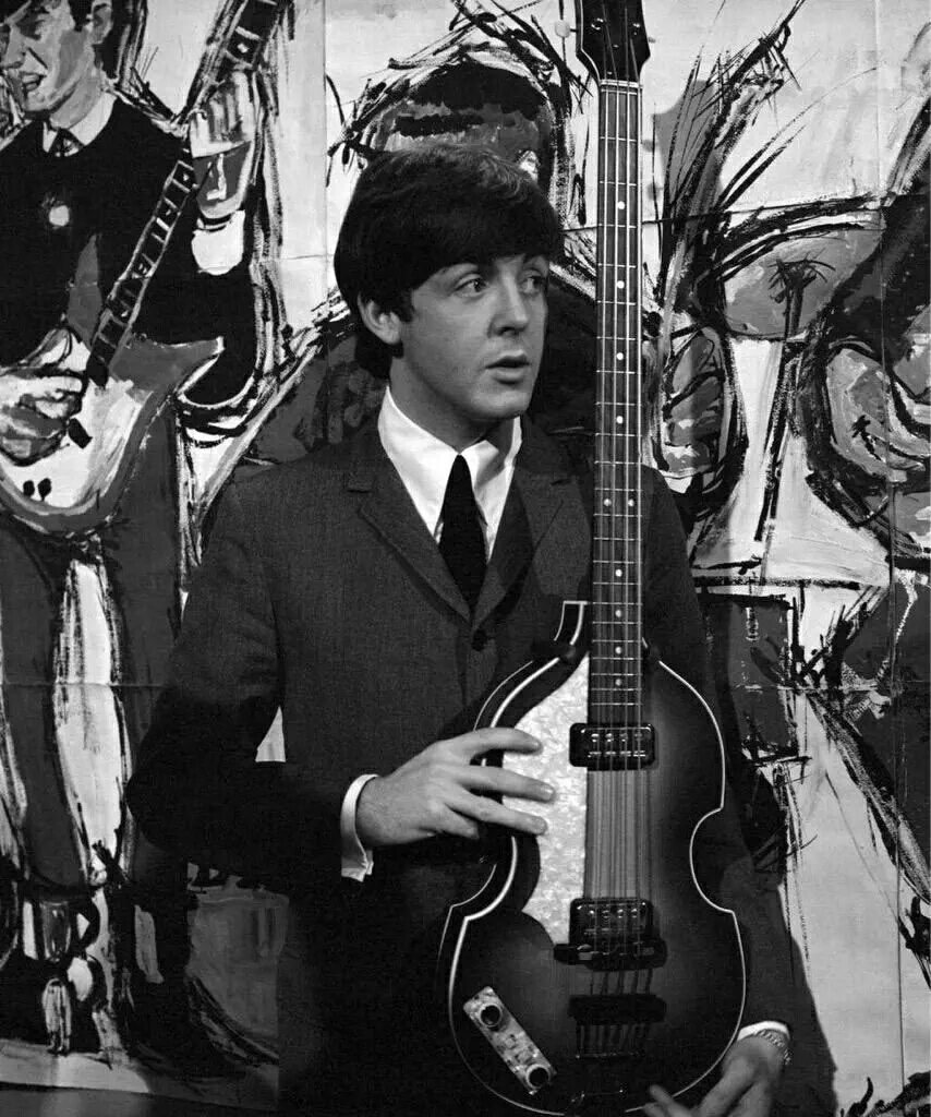 Paul McCartney on the set of Ready Steady Go with his Hofner bass, 1964.