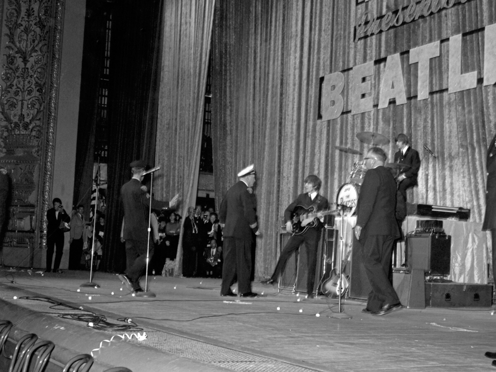 The Beatles on stage at the Public Auditorium in  Cleveland Ohio, September 15th 1964.