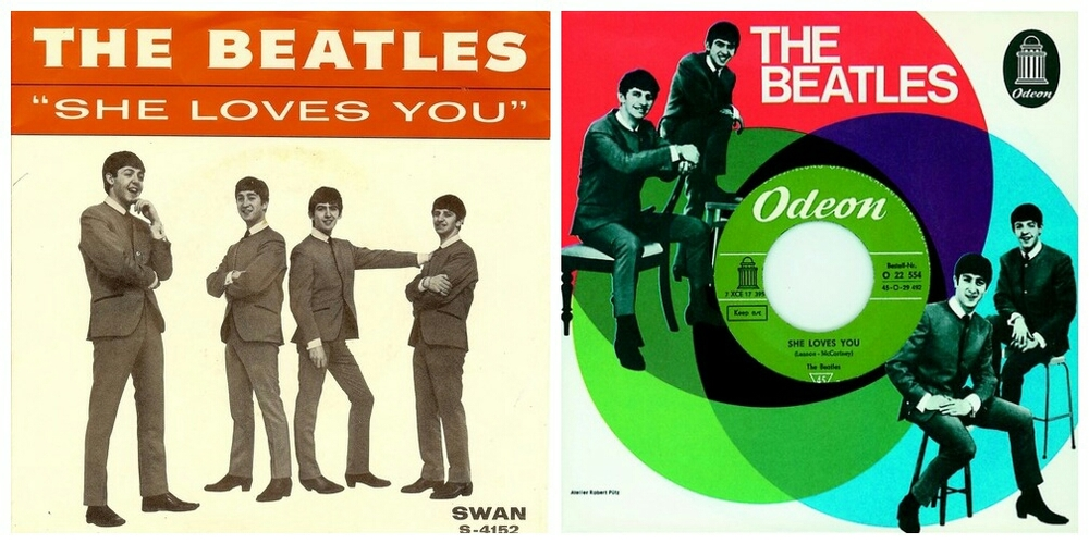 She Loves You singles sleeves, 1963.
