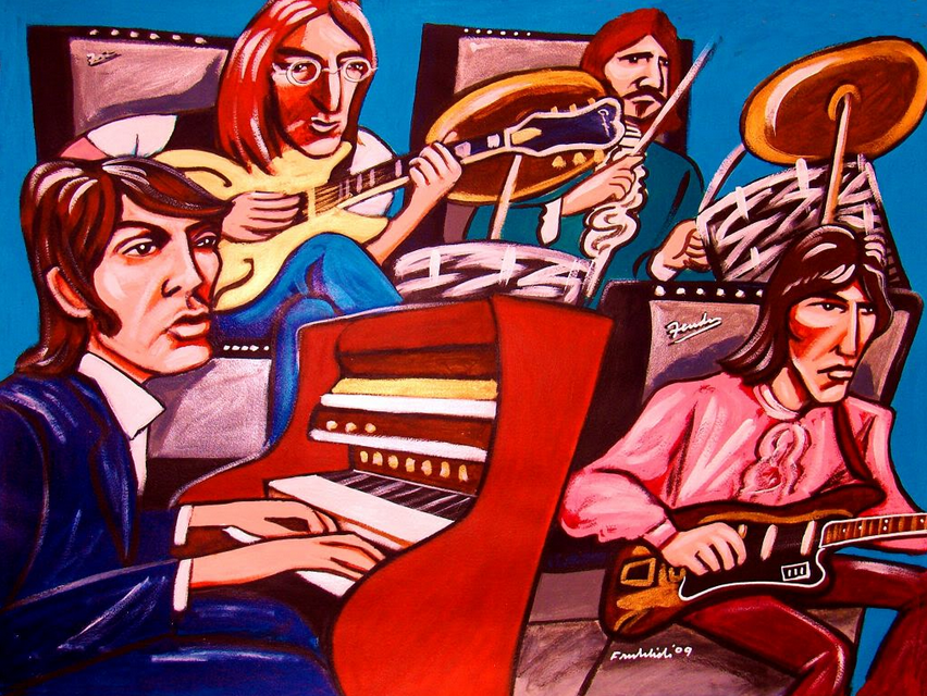 Artistic interpretation of the Beatles'  Hey Jude  promo video, recorded on September 4th 1968.