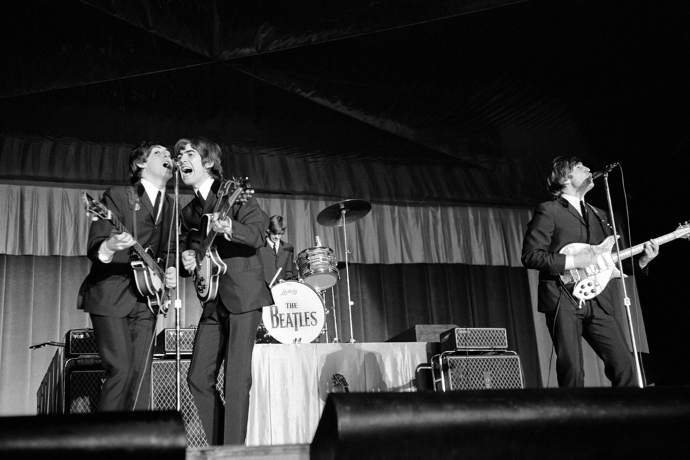 The Beatles at the Municipal Stadium, Kansas City, September 17th 1964. Photo by Bob Bonis.