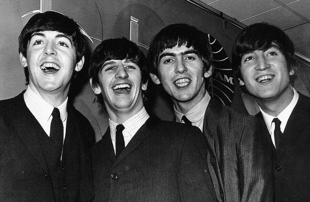 The Beatles at a press conference during their first US visit, 1964.