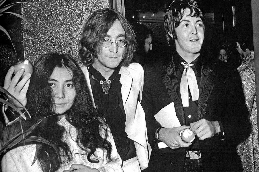 Yoko Ono, John Lennon and Paul McCartney promoting the Beatles' newly formed Apple Corps, 1968.