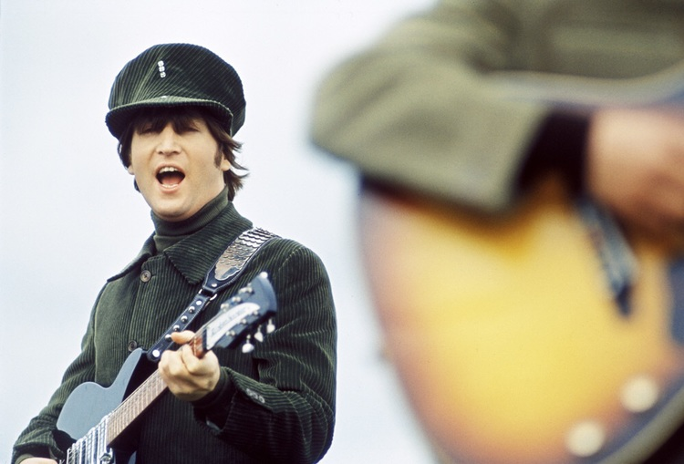 John Lennon filming Help! on the Salisbury Plain, 1965.