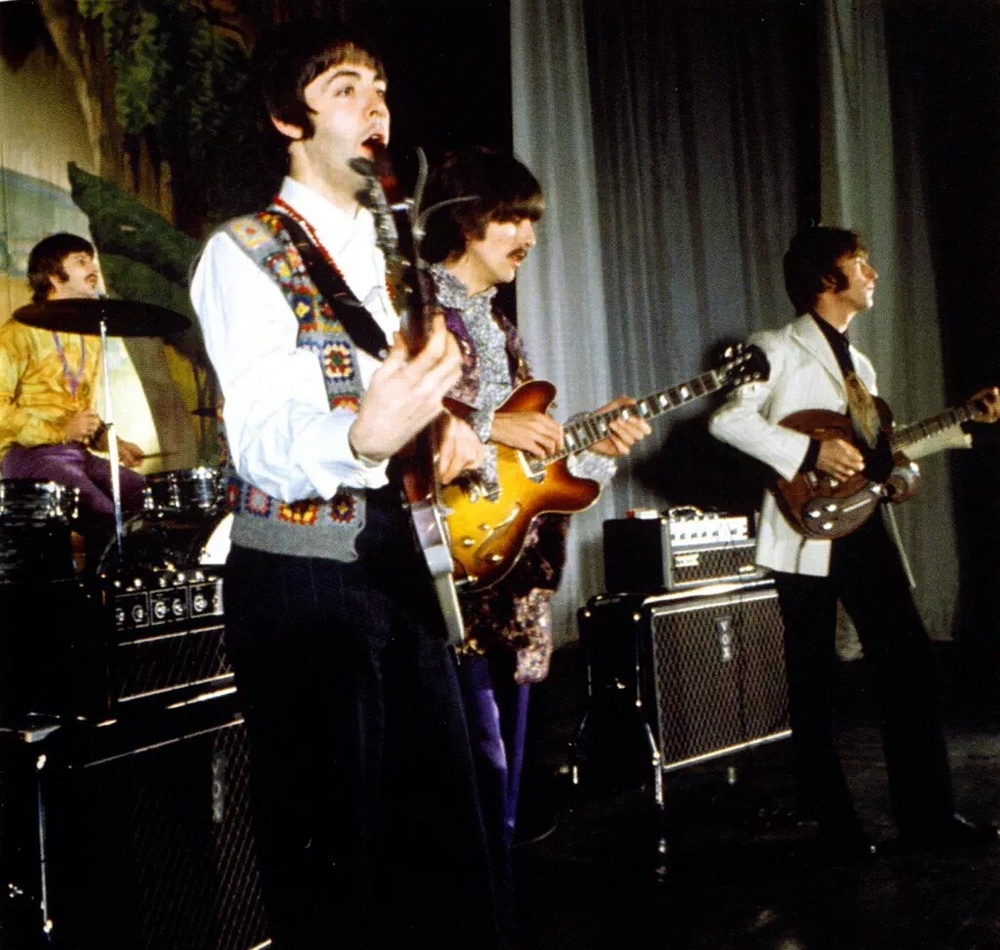 The Beatles at Saville Theatre, London, performing Hello Goodbye, 1967.