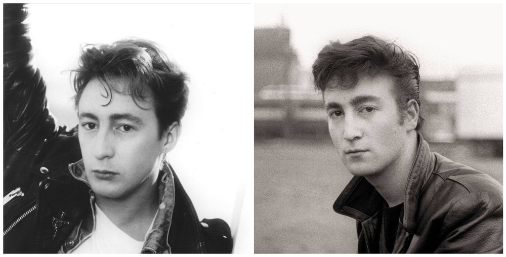 Julian and John Lennon photographed at similar ages.
